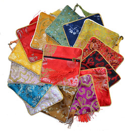 Wholesale Cheap Small Purses Wholesale - Cheap Small Zipper Craft Bag Coin Purse Tassel Chinese Silk brocade Jewelry Bracelet Bangle Storage Pouch Gift Packaging 10pcs lot