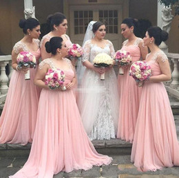 Wholesale Young Cap - Pink A Line Bridesmaid Dresses Sweetheart Long Chiffon Bridesmaid Gowns For Young Girls with Lace Pleats Wedding Guest Dresses 2017