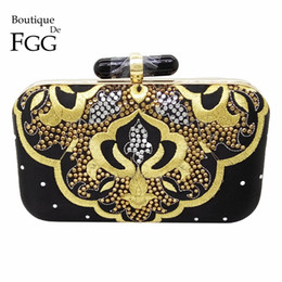 Wholesale Hot Fix Crystal Shapes - Women Hot-Fixed Crystal Diamond Black Satin Evening Clutch Bags Hardcase Embroidery Metal Clutches Banquet Shoulder Handbags