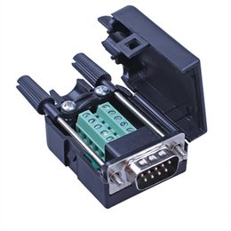 Wholesale Rs232 Com - Serial Head DB9 Solderless Head Plug 9-pin Adapter Terminals RS232 Connector COM Port Male And Female Head