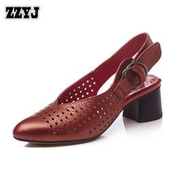 Wholesale Korean Ladies Shoes Sandals - ZZYJ women's high heels Genuine leather casual medium heel summer hollow Roman high-heeled sandals Korean ladies Pumps lady shoes C8190
