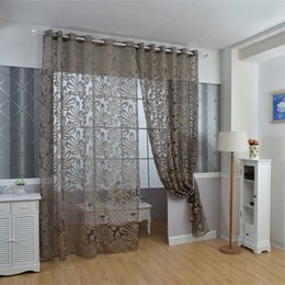 Wholesale Brown Sheer Curtains - Ivolador Solid 3D Floral Sheer Window Curtain Balcony Valances home decaration -100 X250 cm - Brown