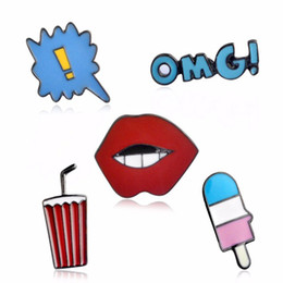 Wholesale Enamel Pin Badges - Beach Style Drink Red Lip Ice Cream Enamel Brooch Pins Set Denim Collar Lapel Brooches School Uniform Badge Jewelry Women Men Gift
