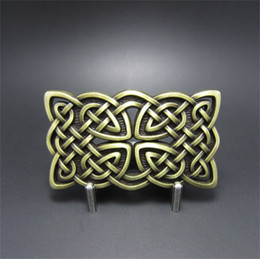 croci di bronzo Sconti Nuovo JEAN'S FRIEND Original Vintage Bronze Rectangle Cross Celtic Knot Western Fibbia della cintura Gurtelschnalle BUCKLE-WT133AB Brand New