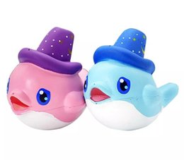 Wholesale Big Whales - New Jumbo 16CM Squishy Kawaii Cute Pink Blue Big Whale Slow Rising Squeeze Soft Cartoon Scent Bread Cake Bun Kid Toy Gift Wholesales