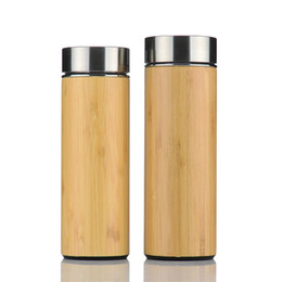 Wholesale water proof rubber - Fashion Bamboo Water Bottles Rubber Skid Proof Bottom Stainless Steel Cup Wear Resistant Easy To Clean Tumbler Portable 30jn B