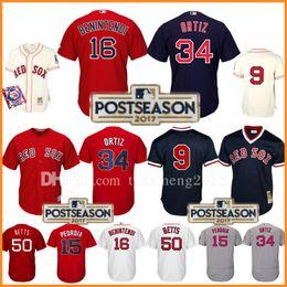Wholesale Boston Sales - Boston Red Sox 2017 Postseason 41 Chris Sale 50 Mookie Betts Baseball Jersey 34 David Ortiz 15 Dustin Pedroia 9 Ted Williams Jerseys