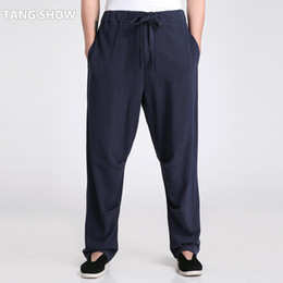 Одежда для тай-чи онлайн-Wholesale- Traditional Chinese Men's Cotton Linen  Pant Casual Loose Long Trousers Tai Chi Clothing S M L XL XXL XXXL 2601-3