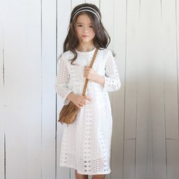 Wholesale Girls Military Clothing - Big Girl Lace Dress Junior Girls Hollow Out Dressess 2017 AutumnTeenager Kids Girls Long Sleeve Dress for Party Children Xmas Clothing B76