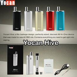 Wholesale E Cigarette Tank Glass - Genuine Yocan Hive 2 in 1 Vaporizer Kits E Cigarette Kit With Wax & CBD Oil Tanks 650mAh 12W Box Mod 5 Colors