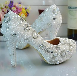 Wholesale Custom High Heels Shoes - Luxury Glittery Pearls Wedding Shoes Custom Made 2017 Medium High Heels Bridal Shoes Party Prom Shoes for Women