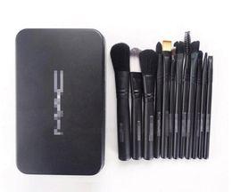 Wholesale Professional Makeup Brushes Black - Hot 12Pcs set Professional black Makeup Brushes set With Iron Box