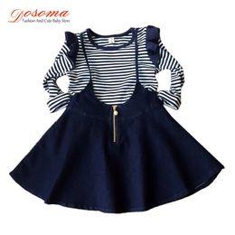 Wholesale Toddler Skirt Suit - Wholesale- 2016 spring kids clothes girls costumes striped petal long sleeve t shirt braces skirt suit girl vetement fille toddler girl set