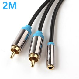 Wholesale Stereo 2rca - DiGiYes 3.5mm Female to 2RCA Male Stereo Audio Adapter Cable Gold Plated for Smartphones   MP3   Tablets   Home Theater PMP_11E