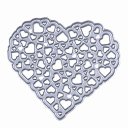 Wholesale Photo Album Heart - 1Pcs Hollow Out Metal Heart Cutting Dies Stencil for DIY Scrapbooking Photo Album Embossing Decorative Craft