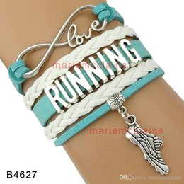 Wholesale Shoes Charm Bracelets Wholesale - (10 Pieces Lot) Infinity Love Running Multilayer Wrap Bracelet Shoes Heart Charm Jersey Girl Suede Leather Women's Fashion Custom Any themes