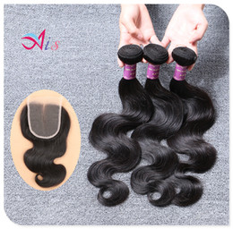Wholesale lace closures peruvian wavy hair - Cheap Brazilian Hair! 3 bundles lot with lace closure 100% Brazilian Hair Human Hair Weaves Wavy Body Wave Hair Extensions
