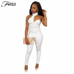 Wholesale Club Jumpsuits Women - Wholesale- Sexy Club Jumpsuit for Women New Solid Color Halter Hollow Out Skinny Casual Slim Party Catsuit Overalls White Pencil Rompers