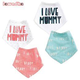 Wholesale Baby Clothes I Love Mom - Wholesale- Cotton Baby Bibs Boys Girls Towel I Love Mom Dad Baby Bandana Bibs Newborn Baby Bib Infant Saliva Towel Toddler Clothing