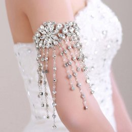 Wholesale Crystal Shoulder Wedding Accessories - Stunning Handmade Crystal Silver Bridal Shoulder Necklace Chian Wedding Accessories Women Party Prom Arm Bangle Jewelry