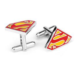 Wholesale Superman Dresses - Super hero Superman Cufflink S Cuff Links men party shirt dress suits Cuff-links sleeve button jewelry 170347
