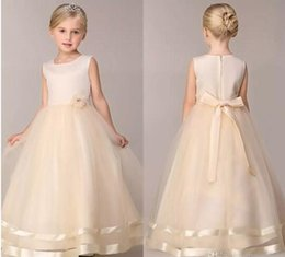 Wholesale Cute Spring Dresses Cheap - Cheap Girls Party Dresses 2017 New 8 Colors Cute Summer Spring Flower Girls' Dresses A Line Floor Length Wedding Dresses For Girls MC0683