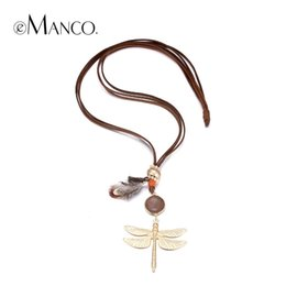 Wholesale Brown Stone Pendant - Wholesale-eManco Fashion Casual Dragonfly MultiLayer Statement Pendant & Necklace Women Stone Feather Brown Rope Metal Gold Plated Jewelry