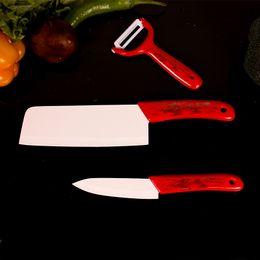 Wholesale Ceramic Knife Set Red - Red cermic handle Most Popular Ceramic Knife Holder Top Quality Peeler Handle Ceramic Blade Best Knives Zirconia Ceramic knife