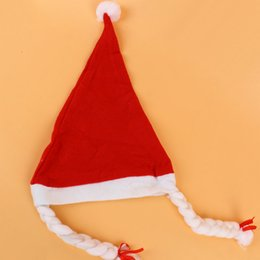 Wholesale Solid Acrylic Ornaments - 12pcs Christmas hats Ornaments Adult Ordinary Christmas hats Santa hats with hair Chiristmas party Props