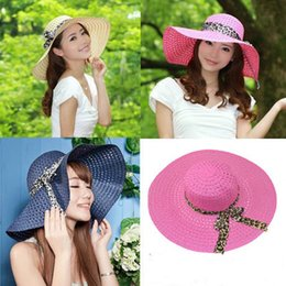 Wholesale Fold Beach Hats - 2017 New Wide Brim Floppy Fold Sun Hat Summer Hats for Women Out Door Sun Protection Straw Hat Women Beach Hat M029