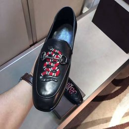 Wholesale Embroidery Lace Shoes - 2017 fall high quality mens Multicolor Genuine Leather luxury buckle Loafers animal Snake Embroidery Driving slippers driver shoes man 39-44