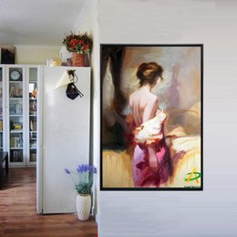 Wholesale Nude Oil Woman Painting - Framed Handpainted Abstract nude woman pink skirt girl oil painting,Home Wall Decor on High Quality Canvas size can be customized