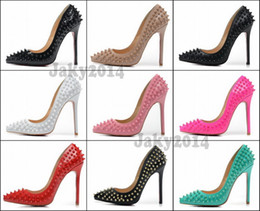 Wholesale Hot Sexy Girls Leather - Sexy Ladies High Heels Spikes Shoes 12cm Rivets Studded Dress Shoes Women and Girls Hot Sale Candy Spike Pumps