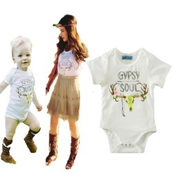 Wholesale Mother Daughter Shirts - mother and daughter clothes 2017 cartoon deer romper t shirt matching mom baby outfits summer style letter christmas family look