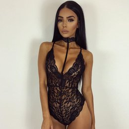 Wholesale Latex Sexy Black - 2017 Hot New Summer Women Lace Sexy Lingerie Sex Body Suit Latex Bodysuit Clothing