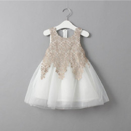 Wholesale korean ball gowns - 2017 Korean style new arrivals hot selling girls grenadine vest lace dress girl's summer Dresses 2 colors free shipping