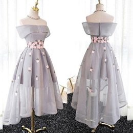 Wholesale Grey Organza Bridesmaid Dresses - Romantic 2017 Light Grey Off The Shoulder High Low Bridesmaid Dresses Cheap Pink Applique Wedding Guest Party Gown Custom Made EN6239