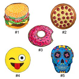 Wholesale Baby Skull - Round Beach Towel Pizza Hamburger Skull Ice Cream Strawberry Smiley Emoji Pineapple Watermelon Shower Towel Blanket Shawl 0711017