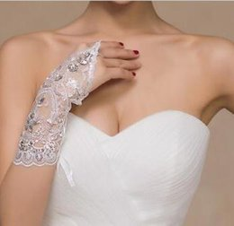 Wholesale Hot Cheap Wedding Rings - HOT Sale New Arrival Cheap Lace Appliques Beads Fingerless Wrist Length With Ribbon Bridal Gloves Wedding Accessories