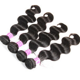Wholesale Malaysian Bodywave Hair - Brazilian Malaysian Indian Peruvian Cambodian Mongolian Virgin Human Hair Weaves Natural Black Body Wave 4 Bundles 400g Unprocessed Bodywave