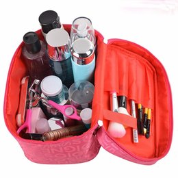Wholesale Portable Make Up Cases - 2017 New 10 Colors Portable Type Bags Zipper Cosmetic Storage Make up Jewelry Bag Handle Train Case Purse Toiletry Pouch S015