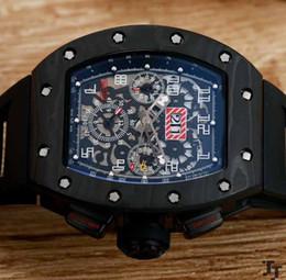 Wholesale man rm - Top AAA Men's Mechanical Black Pvd Carbotech Fiber Watch Men Auto Date Dive Rubber RM automatic machinery sapphire Wristwatches