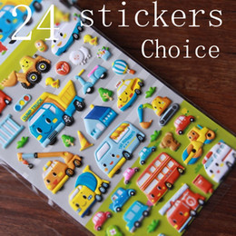 Wholesale Sticker Paper For Cars - Wholesale- Children stickers car plane bus foam paste stickers for children Puzzle toy sticker learning gift