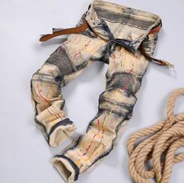Wholesale Vintage Hot Pants - Hot Vintage Distressed Ripped Skinny Jeans For Men Brand Designer Slim Fit Motorcycle Moto Biker Men's Denim Hip Hop Rock Star Mens Pants