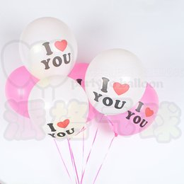 Wholesale I Balloons - Best Quality 100pcs lot 12inch white and pink Latex Balloon I LOVE YOU Balloons Christmas Wedding Decorations