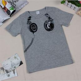 Wholesale Cm Headphone - New 2017 children t-shirts, Headphone Design T shirt Boys Kids Short Sleeve Tops T-shirt cotton Tees