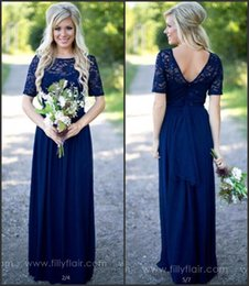 Wholesale Rustic Lace - Navy Blue Modest Cheap Rustic Bridesmaid Dresses 2017 New Maid of Honor Gowns Short Sleeve A Line Long Wedding Guest Dresses CPS572