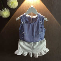 Wholesale Cotton Sleeveless Turtleneck Wholesale - Summer Children Clothes Kids Girls Kids Stringy Selvedge Bowknot Top+Short Cothes 2Pcs For 1~7 Y 5 S L