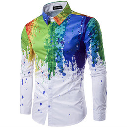 Wholesale Unique Designs Mens Shirts - Man shirts Unique design Mens wear white shirt irregular Print floral Long sleeve Hidden button round bottom high quality shirts for man