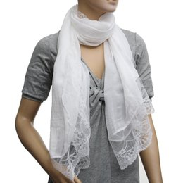 Wholesale Lace Chiffon Scarf Wholesale - Wholesale- FS Hot Woman Scarves Chiffon Lace Scarf Wrap Scarf white